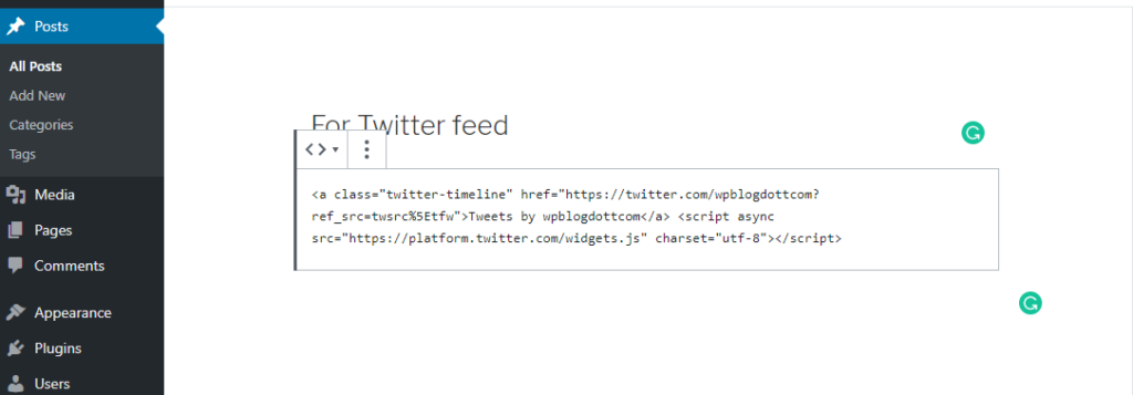 twitter feed code