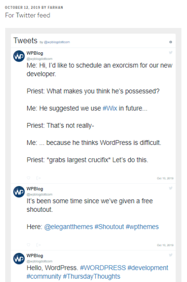 wpblog twitter feed