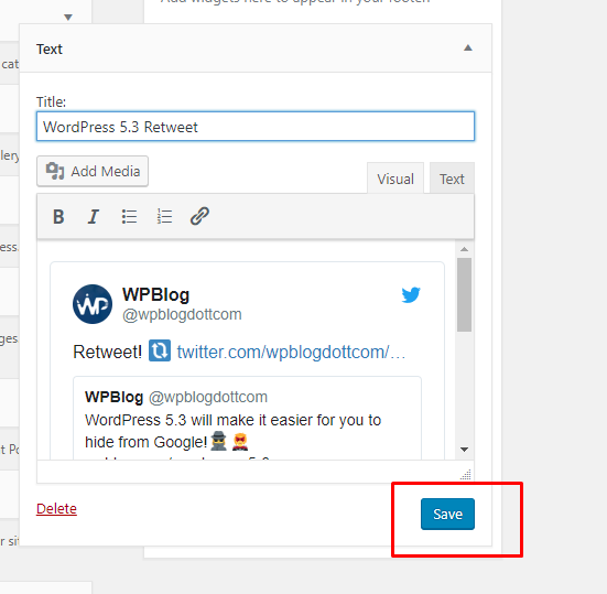wpblog tweet about wordpress 5.3