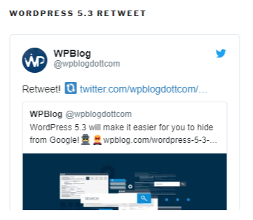 wordpress 5.3 retweet by wpblog