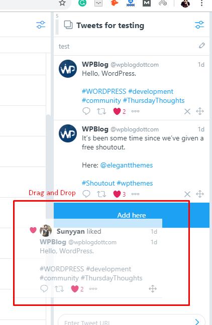 drag and drop option tweetdeck
