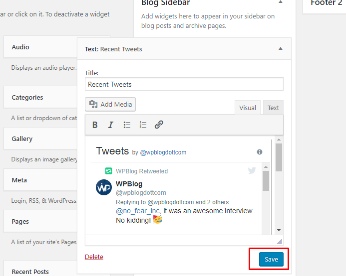 recent tweets sidebar widget