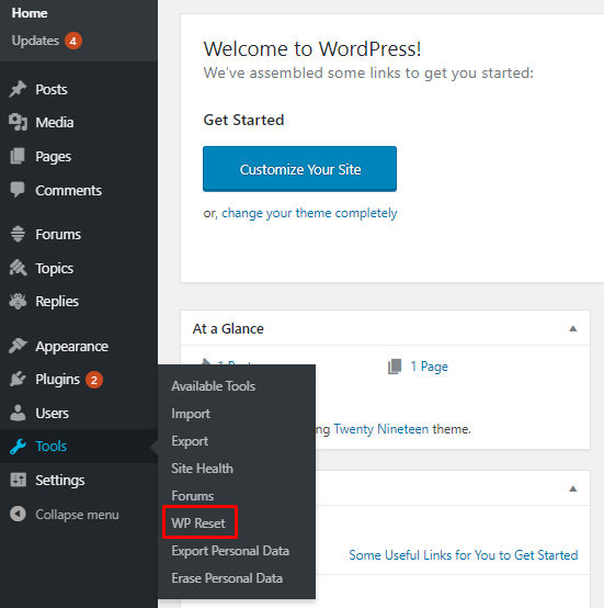 wp reset plugin setting