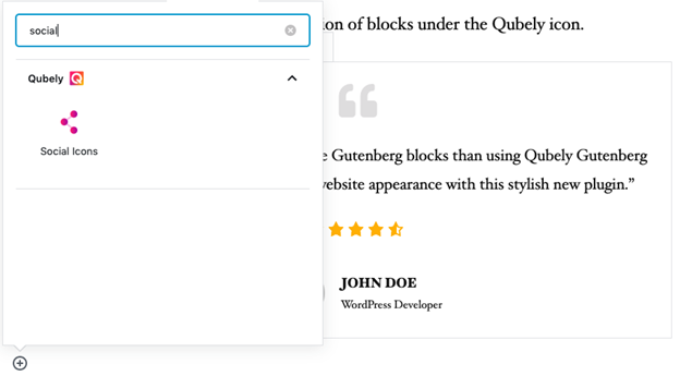 accessed Qubely blocks on Gutenberg editor dashboard