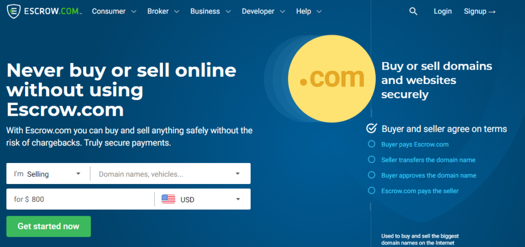 escrow website to buy & sell domains