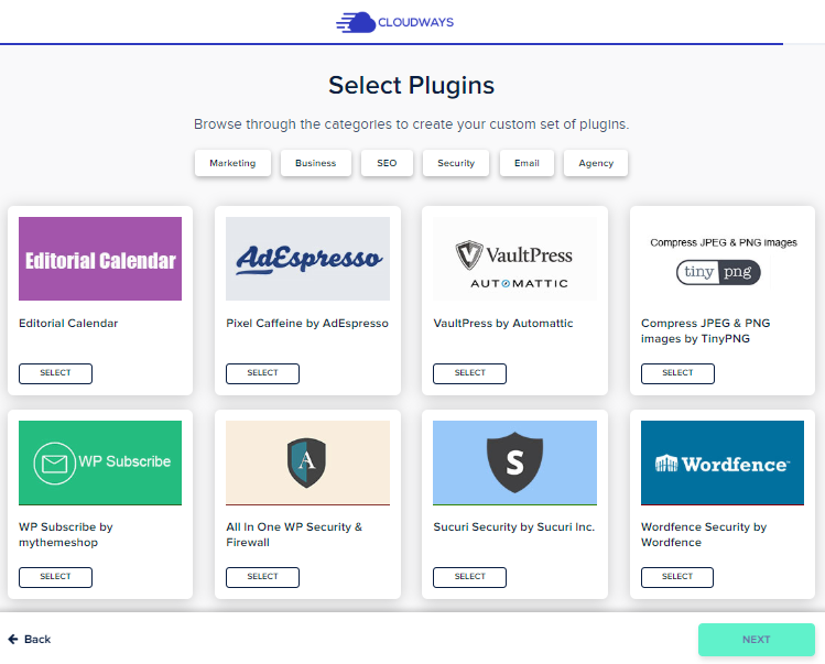 plugin selection in cloudways blueprint maker