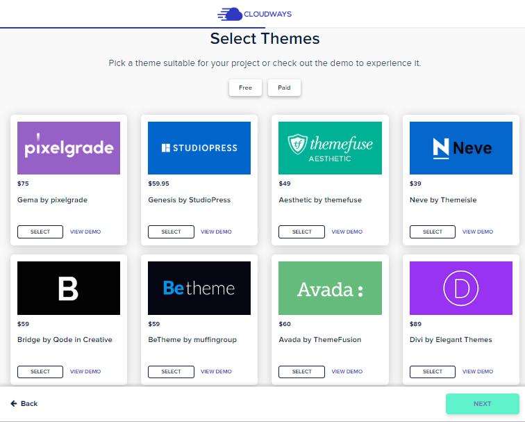 theme selection cloudways blueprint maker