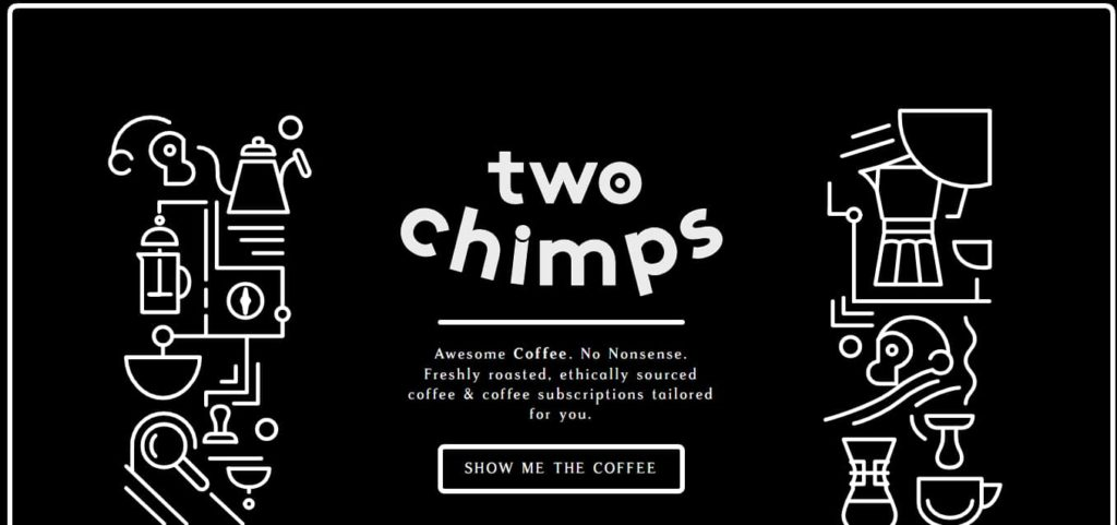 Two Chimps Coffee website-design-example