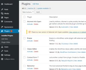 Installed plugin list